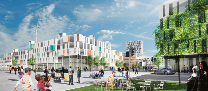 City and society development in Gellerup, Denmark. Visualisation: JWE Arkitekter